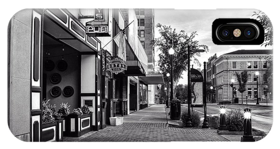 Front Street IPhone X Case featuring the photograph Fat Tony's In Black And White by Greg Mimbs