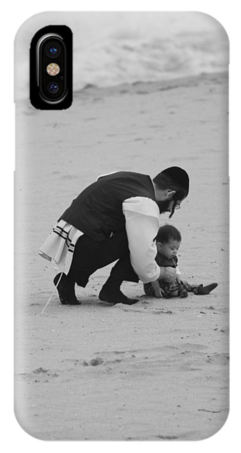 Black And White IPhone X Case featuring the photograph Father And Daughter by Rob Hans