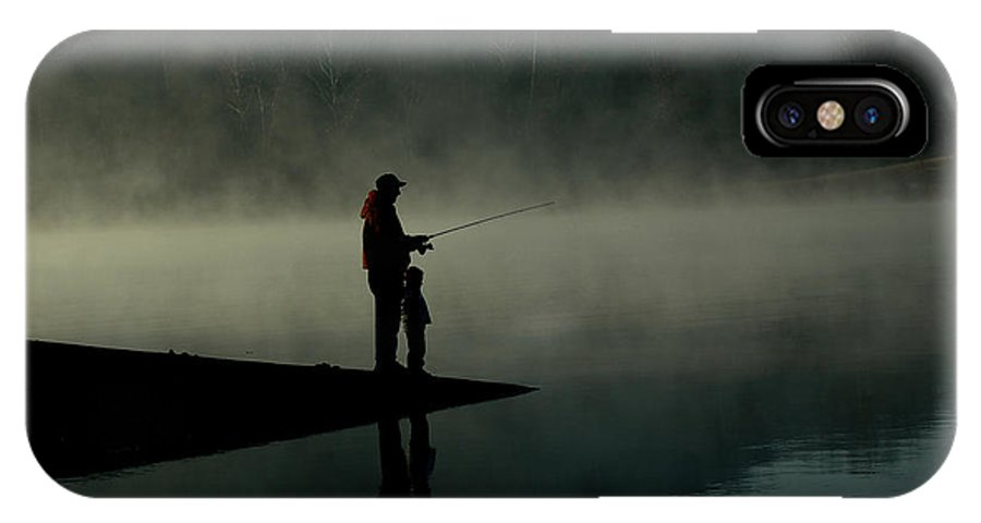 Father IPhone X / XS Case featuring the photograph Father And Son Fishing by Shawn Wood