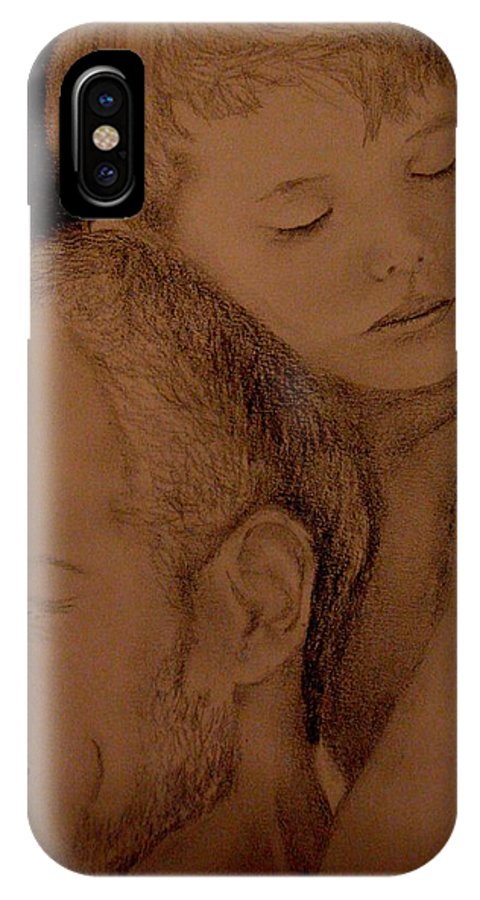 Portrait IPhone X Case featuring the painting Father And Son by Glory Fraulein Wolfe