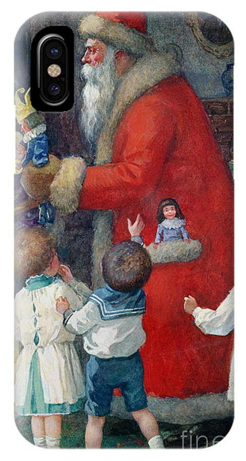 Father Christmas With Children By Karl Roger (b.1879) IPhone X Case featuring the painting Father Christmas With Children by Karl Roger