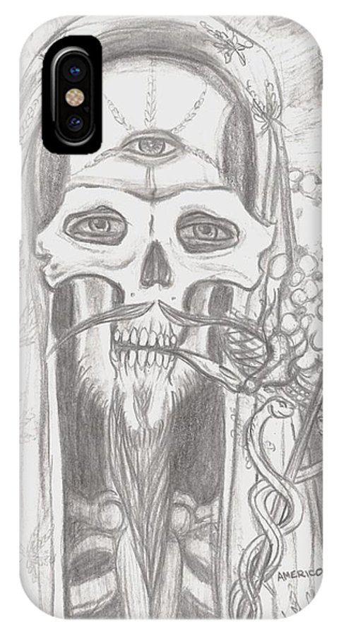 Skeleton.eyes IPhone X Case featuring the drawing Father Health And Wisdom by Americo Salazar