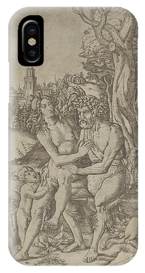 IPhone X Case featuring the drawing Faun Family by Giovanni Battista Palumba