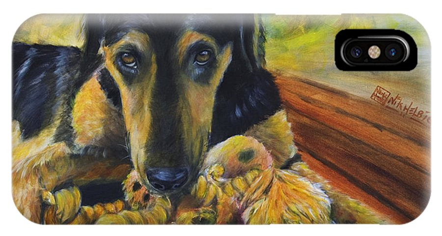 Dog IPhone X Case featuring the painting Favorite Things by Nik Helbig
