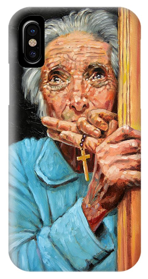 Old Woman IPhone X Case featuring the painting Fear And Faith by John Lautermilch