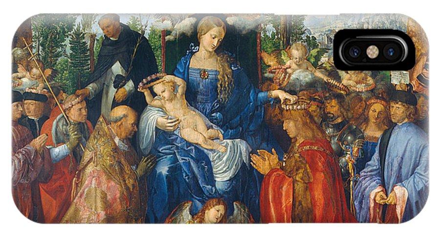 Albrecht Durer IPhone X Case featuring the painting Feast Of Rose Garlands by Albrecht Durer