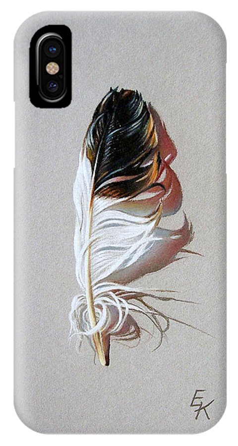 Still Life Feather IPhone Case featuring the drawing Feather And Shadow 3 by Elena Kolotusha
