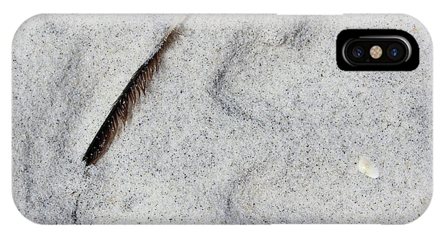 Feather IPhone X Case featuring the photograph Feather, Shell And Sand by Karen Adams