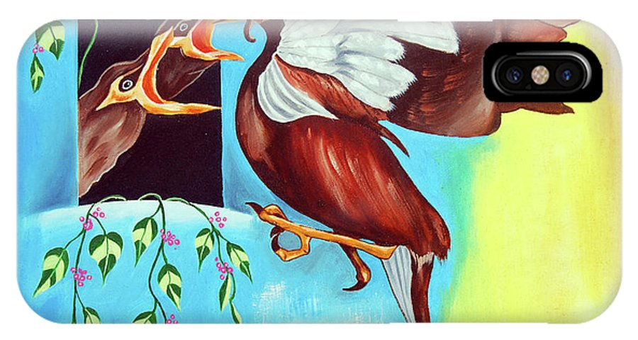 Birds IPhone X Case featuring the painting Feather Touch by Ragunath Venkatraman
