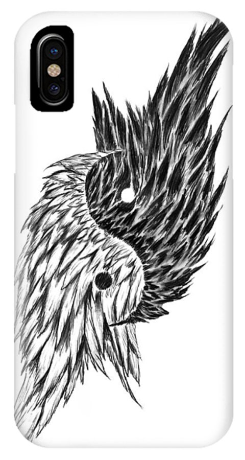 Feathered Ying Yang IPhone X Case featuring the drawing Feathered Ying Yang by Peter Piatt