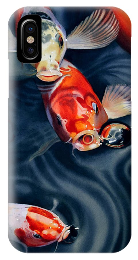 Koi IPhone X Case featuring the painting Feeding Frenzy by Denny Bond