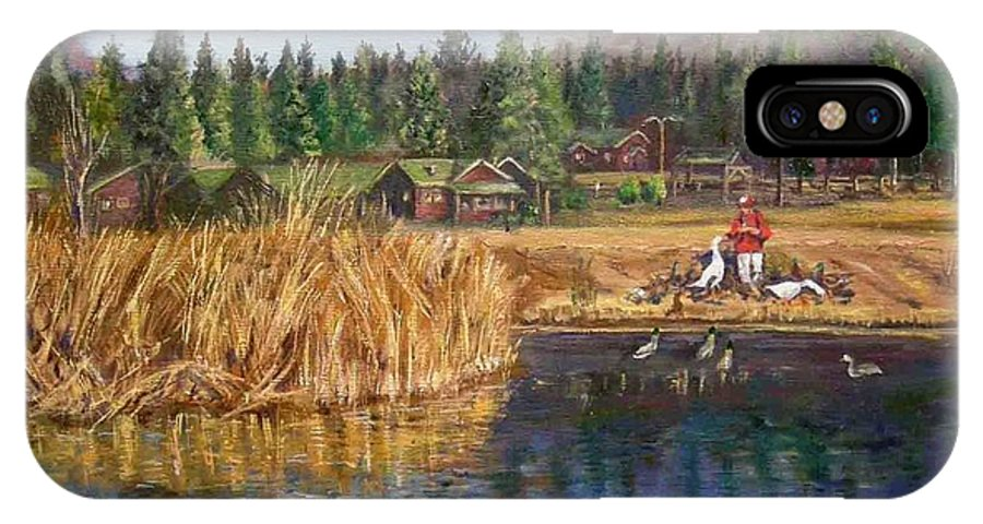 Landscape IPhone X Case featuring the painting Feeding The Ducks by Olga Kaczmar