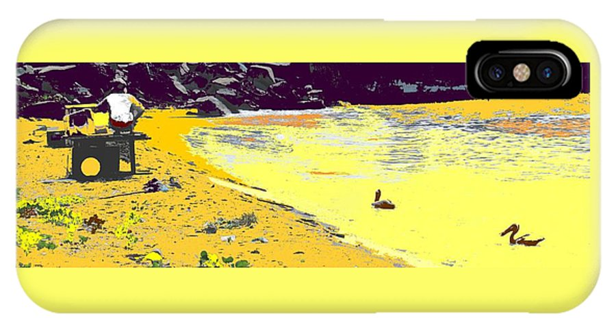 St Kitts IPhone X Case featuring the photograph Feeding The Pelicans by Ian MacDonald