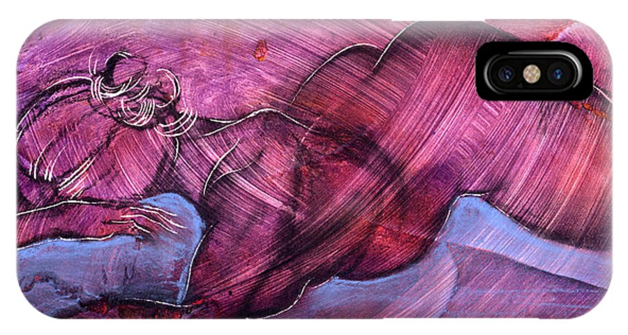 Nude IPhone X Case featuring the painting Feeling Sensuous by Richard Hoedl