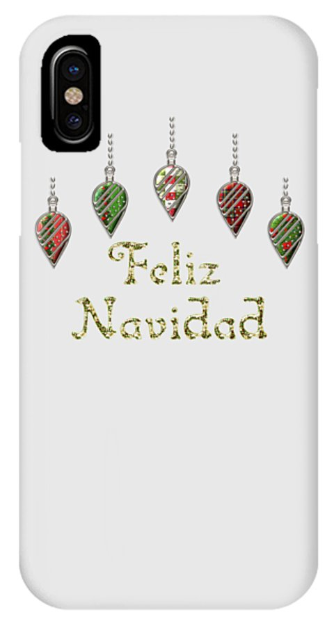 Red IPhone X Case featuring the digital art Feliz Navidad Spanish Merry Christmas by Movie Poster Prints