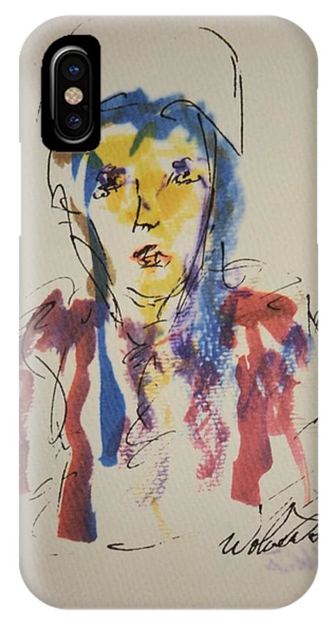 Portrait IPhone X Case featuring the painting Female Face Study K by Edward Wolverton
