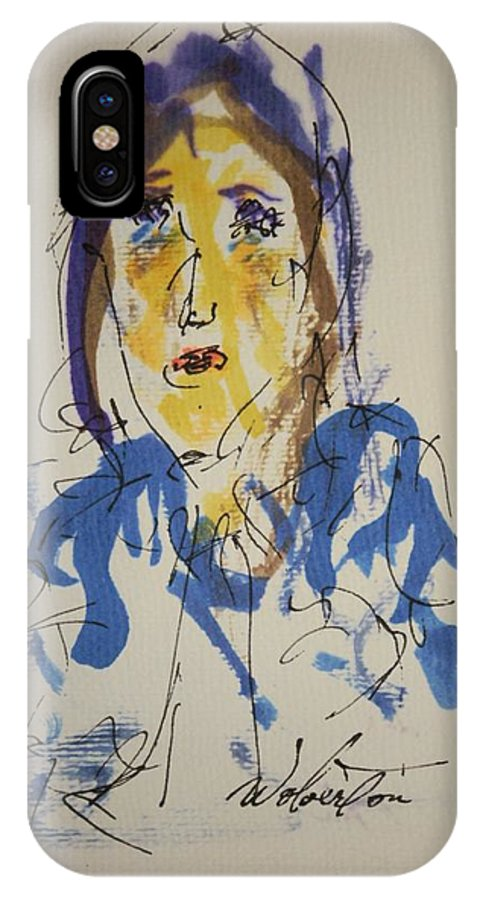Portrait IPhone X Case featuring the painting Female Face Study O by Edward Wolverton