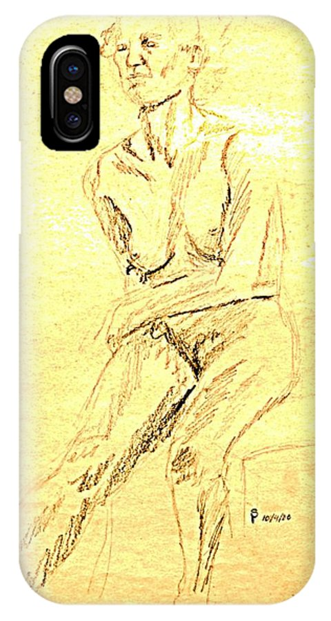 Female IPhone X Case featuring the drawing Female Nude With Arm Across by Sheri Buchheit