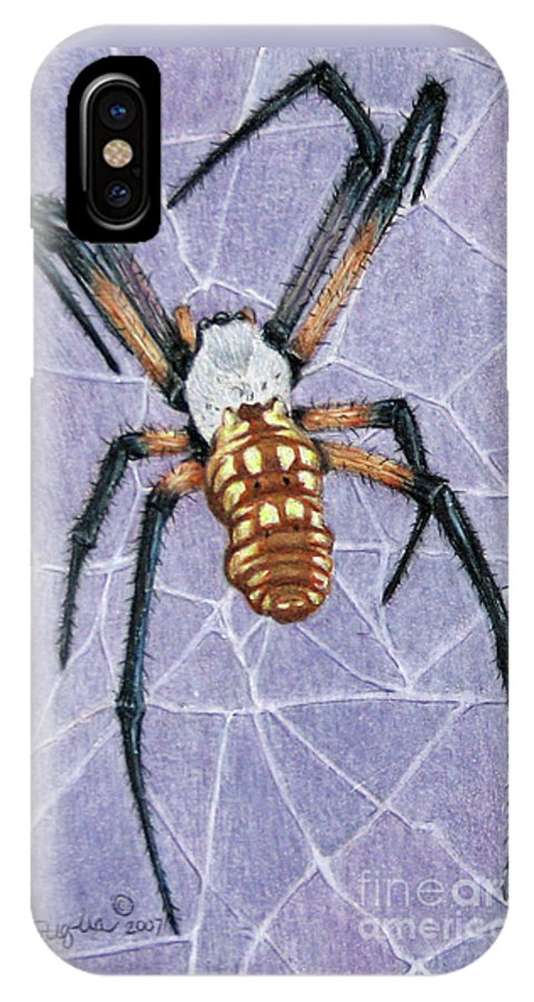 Fuqua - Artwork IPhone X Case featuring the drawing Female Orb Spider by Beverly Fuqua