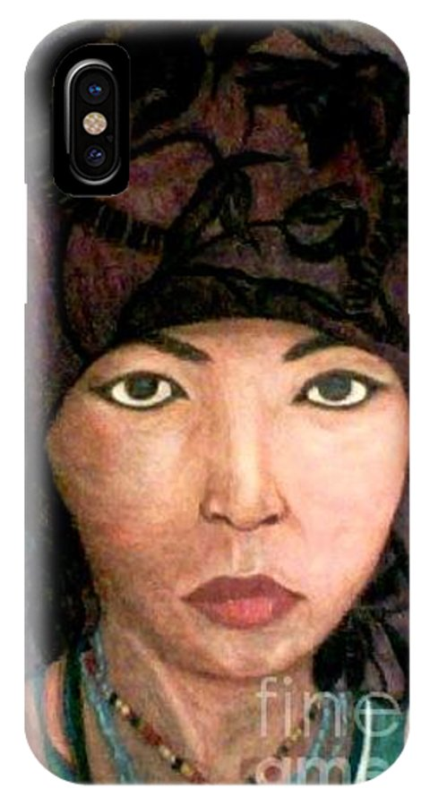 Portraits IPhone Case featuring the drawing Female Villager by Brenda L Spencer