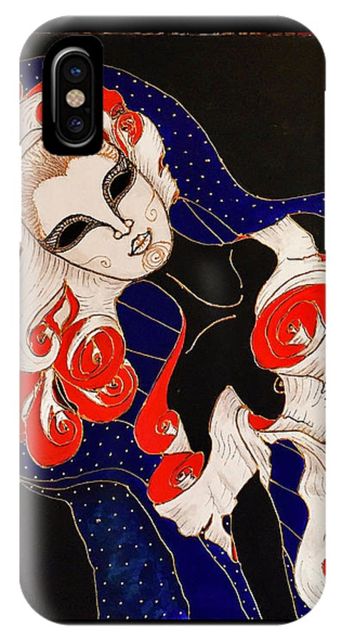 Original Painting IPhone X Case featuring the painting Feminine Mystique by Rae Chichilnitsky