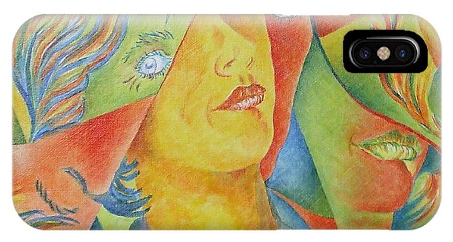 Cubist IPhone X Case featuring the painting Femme Aux Trois Visages by Claire Gagnon