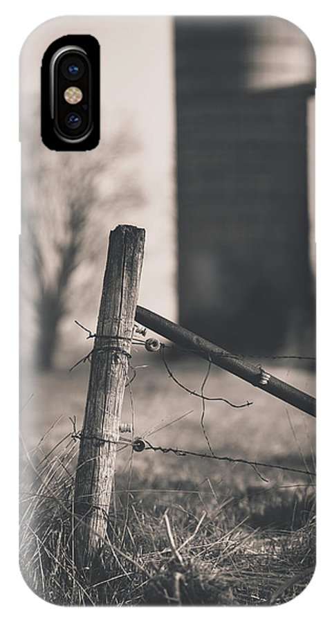 Black And White IPhone X Case featuring the photograph Fence Post In Black And White by David Jilek