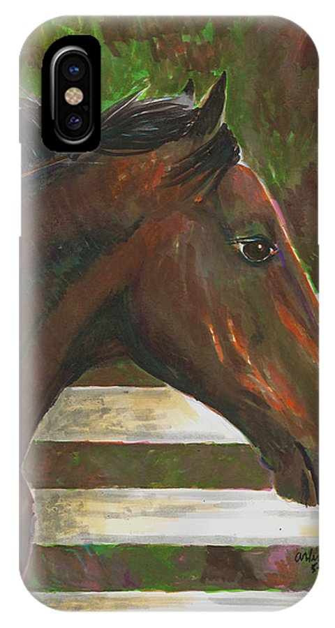 Horse IPhone X Case featuring the painting Fenced In by Arline Wagner