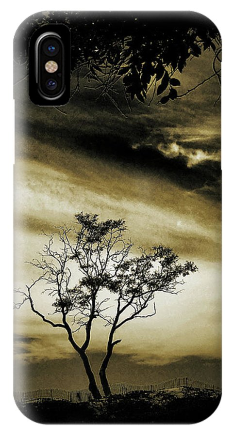 Sepia Tone IPhone X Case featuring the photograph Fenced In by John A Royston