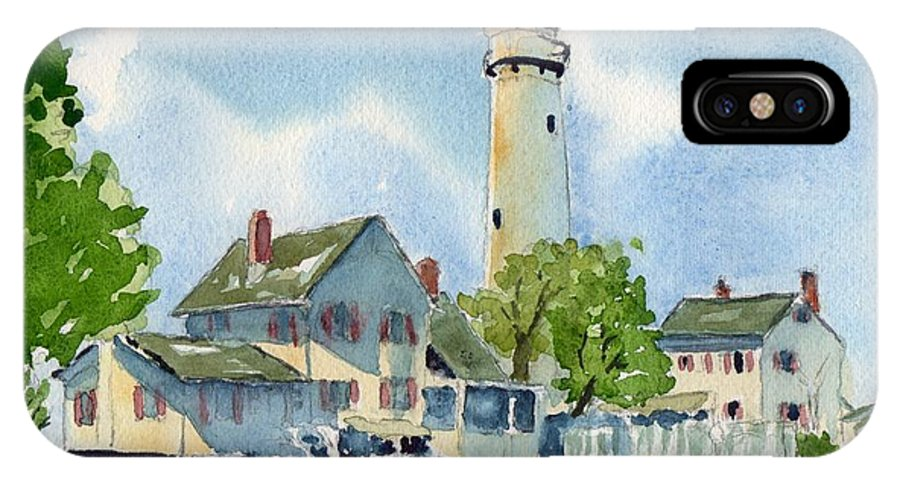 Lighthouse IPhone X Case featuring the painting Fenwick Island Lighthouse by Paul Temple