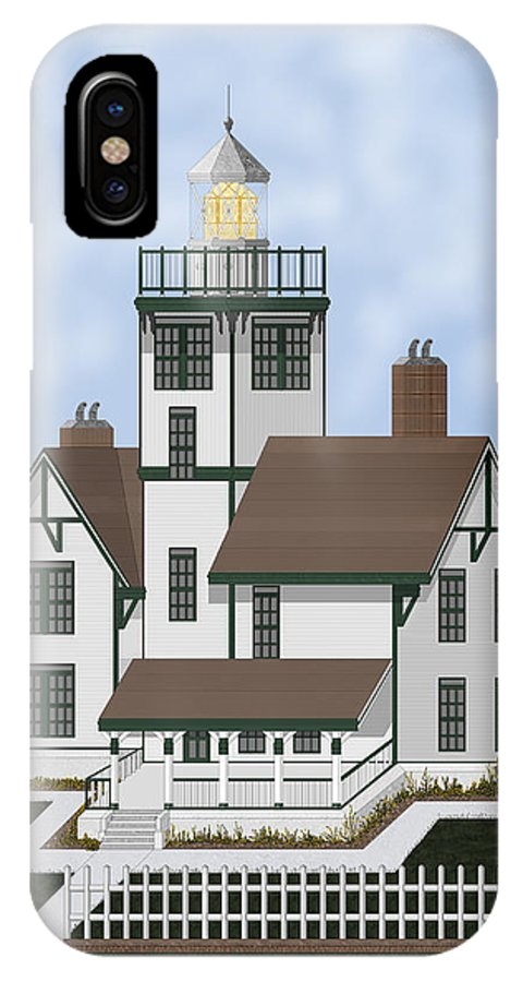 Lighthouse IPhone X Case featuring the painting Fermin Model Landscaped by Anne Norskog