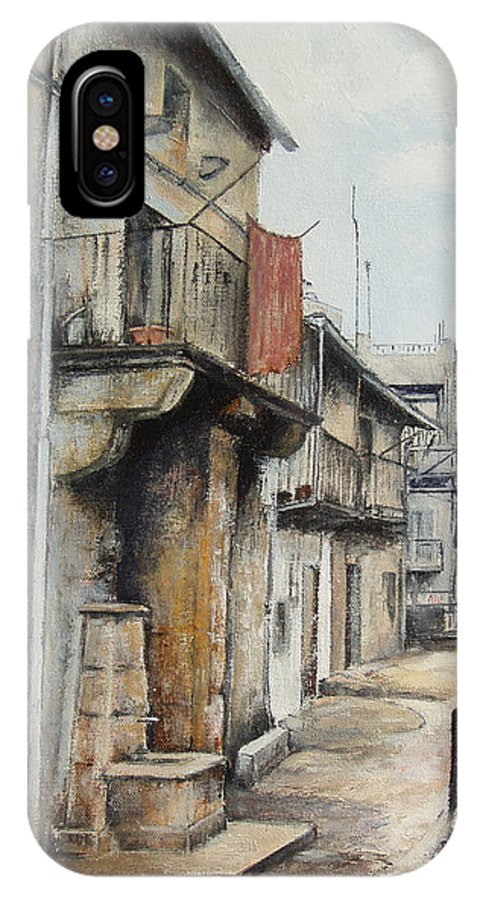 Fermoselle Zamora Spain Oil Painting City Scapes Urban Art IPhone X Case featuring the painting Fermoselle by Tomas Castano
