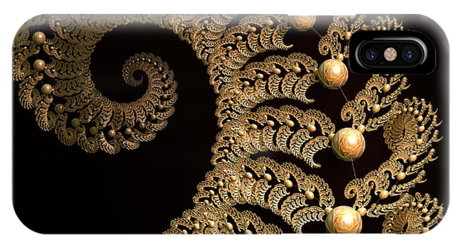 Incendia IPhone X Case featuring the digital art Fern-spiral-fern by Deborah Benoit