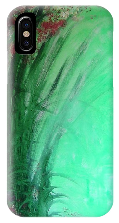 Green Ferns IPhone X / XS Case featuring the painting Ferns by Lizzy Forrester