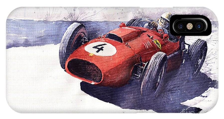 Watercolour IPhone X Case featuring the painting Ferrari 246 Mike Hawthorn by Yuriy Shevchuk