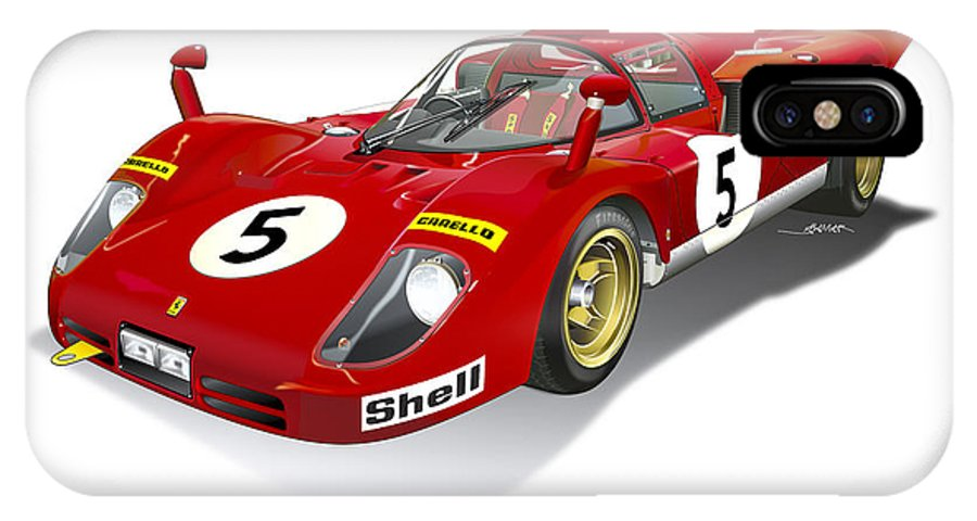 Ferrari 512 Illustration IPhone X Case featuring the digital art Ferrari 512 Illustration by Alain Jamar