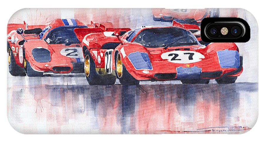 Watercolour IPhone X Case featuring the painting Ferrari 512 S 1970 24 Hours Of Daytona by Yuriy Shevchuk