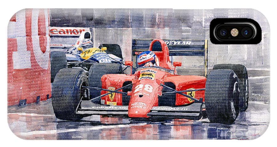Watercolor IPhone X Case featuring the painting 1991 Ferrari F1 Jean Alesi Phoenix Us Gp Arizona 1991 by Yuriy Shevchuk
