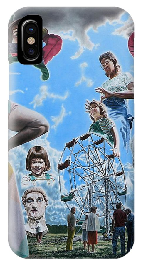 Woman IPhone X Case featuring the painting Ferris Wheel by Dave Martsolf