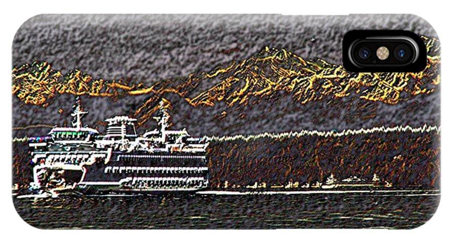 Ferry IPhone X Case featuring the digital art Ferry On Elliott Bay 3 by Tim Allen