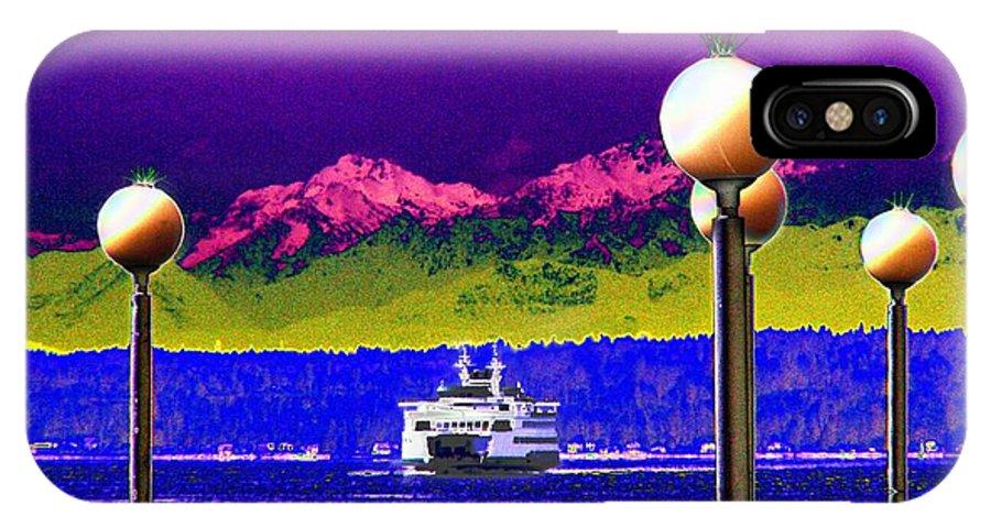 Seattle IPhone X Case featuring the digital art Ferry On Elliott Bay by Tim Allen