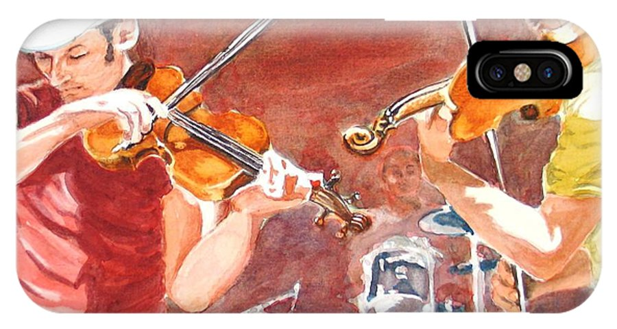 Musicians IPhone X Case featuring the painting Fiddles by Karen Ilari