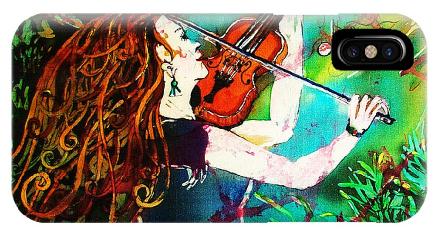 Music IPhone X Case featuring the painting Fiddling Toward The Sun by Sue Duda