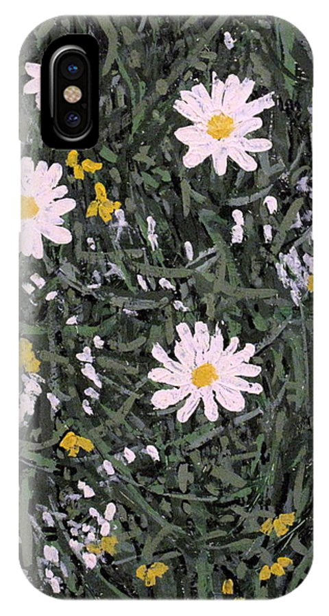 Daisies IPhone X Case featuring the painting Field Daisies by Ian MacDonald
