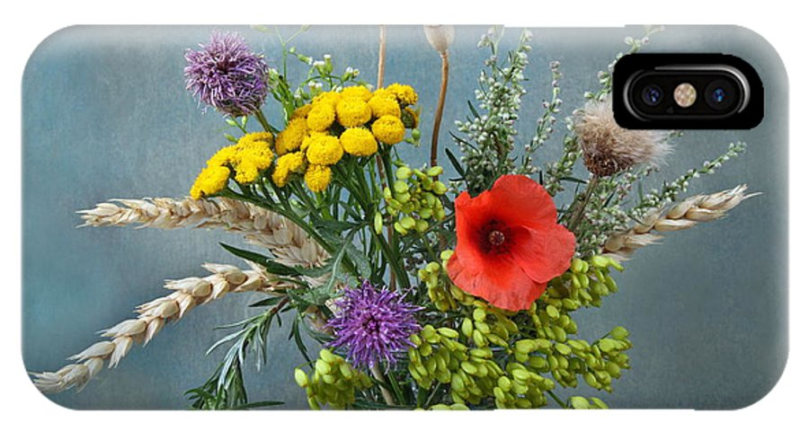 Field IPhone X Case featuring the photograph Field Flowers by Manfred Lutzius