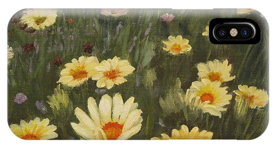 Flower IPhone X Case featuring the painting Field Of Flowers by Lea Novak