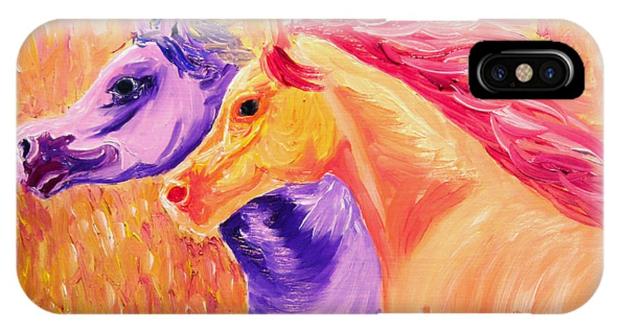 Horse IPhone X Case featuring the painting Field Of Orange by Michael Lee