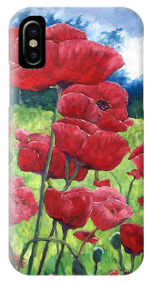 Poppies IPhone X Case featuring the painting Field Of Poppies by Richard T Pranke