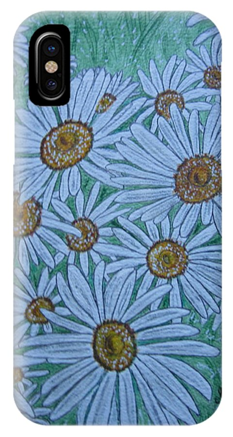 Field IPhone X Case featuring the painting Field Of Wild Daisies by Kathy Marrs Chandler