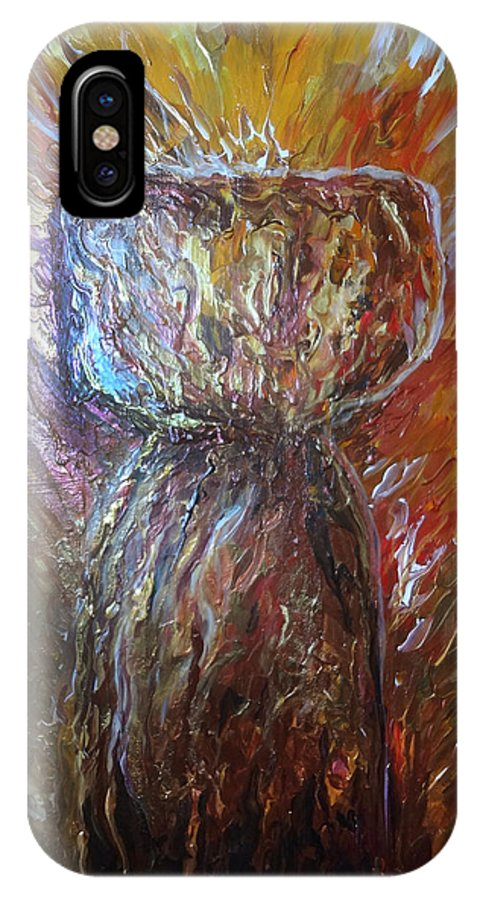 Fiery IPhone X Case featuring the painting Fiery Earth Latte Stone by Michelle Pier